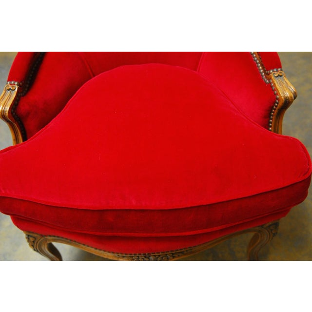 Antique French Louis XV Carved Red Velvet Bergere - Image 6 of 9
