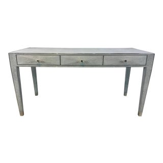Lillian August Modern Gray Faux Shagreen Writing Desk For Sale