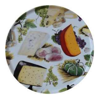 1990s Vintage Rochard Limoges France Cheese and Grapes Motif Platter For Sale