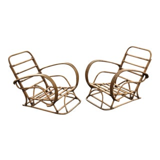 Vintage Rattan Frankl Style Pair Lounge Chairs - A Pair For Sale