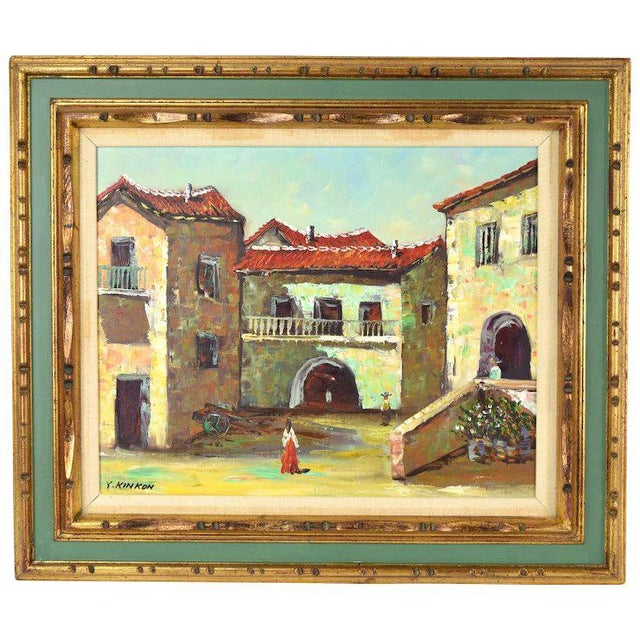 Vintage Spanish Village Street Scene Oil Painting Figures Walking in Plaza For Sale In Chicago - Image 6 of 6