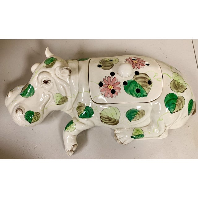 Boho Chic Fitz & Floyd Hippo Serving Piece / Flower Frog For Sale - Image 3 of 9