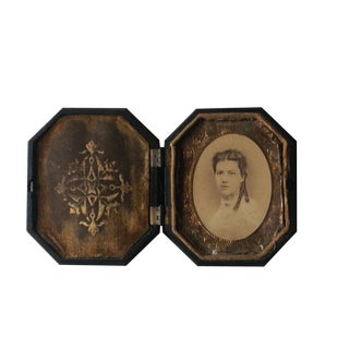 19th Century Antique Photo Set in a Gutta Percha Frame For Sale