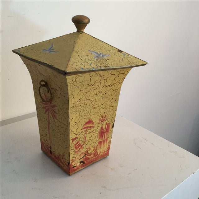 Crackled Yellow & Red Tole Box - Image 2 of 5