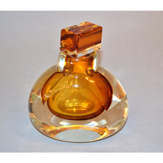 Orange Vintage Clear & Amber Controlled Bubbles Murano Art Glass Perfume Bottle Italy For Sale - Image 8 of 13
