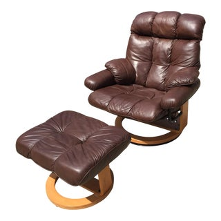 Ekornes Style Espresso Leather Chair & Otttoman - A Pair