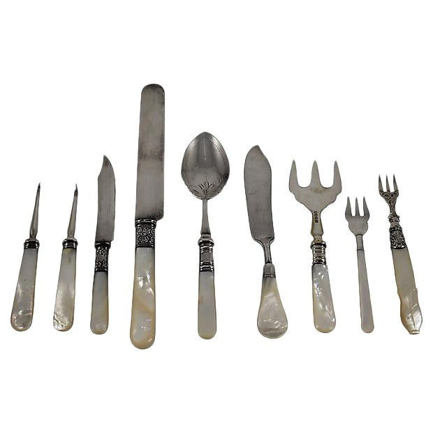 Assorted 19th -C. English Pearl Handled & Silver Serving Flatware, a Mixed S/9 For Sale