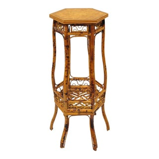 Oriental Chinoiserie Burnt Bamboo Fretwork Pedestal Plant Stand Table