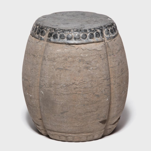 Gray Chinese Clover Form Stone Drum For Sale - Image 8 of 8