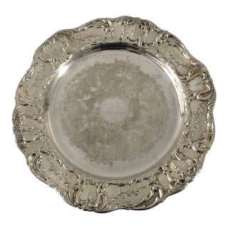 Victorian Style Silver Plate Lazy Susan Cake Stand For Sale