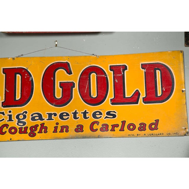 """Rustic Antique """"Old Gold Cigarettes"""" Sign For Sale - Image 3 of 6"""