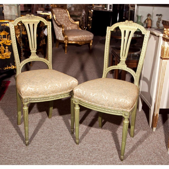 French Green Painted Side Chairs - Pair - Image 2 of 7