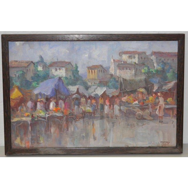 Vintage Impressionist Oil Painting by Gabetto c.1940s to 1950s Fine European oil painting by talented artist Gabetto. A...
