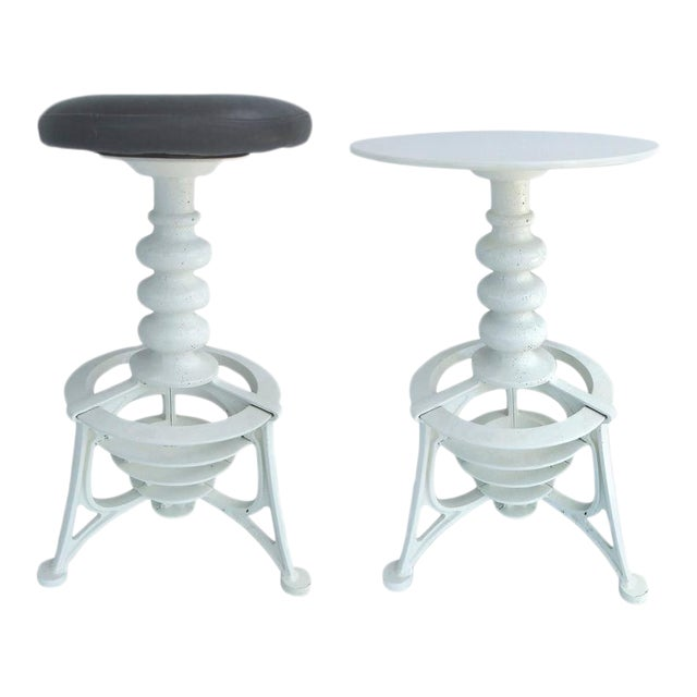 20th Century Industrial Cast Iron Interchangeable Stools to Tables For Sale