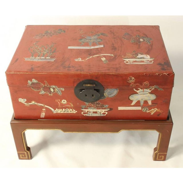 Hand-Painted Chinese Trunk on Stand For Sale - Image 5 of 8