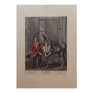 "18th Century French ""Le Nouveau Manege"" Dressage Engraving Print"