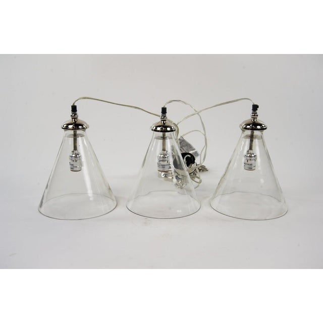 Chrome Triple Cone Hanging Light For Sale - Image 7 of 10