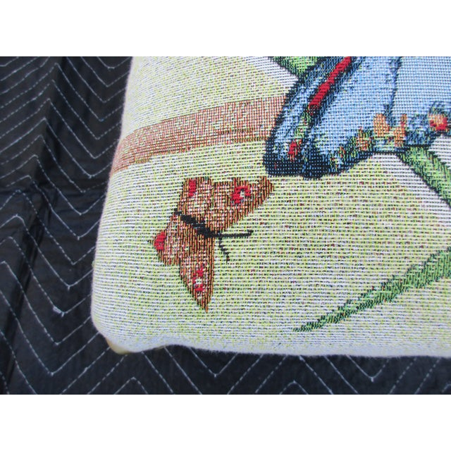 Butterfly Print Footstool With Brass Cabriole Legs For Sale - Image 6 of 11