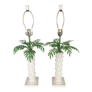 Vintage Tole and Blanc De Chine Palm Tree Lamps- a Pair For Sale