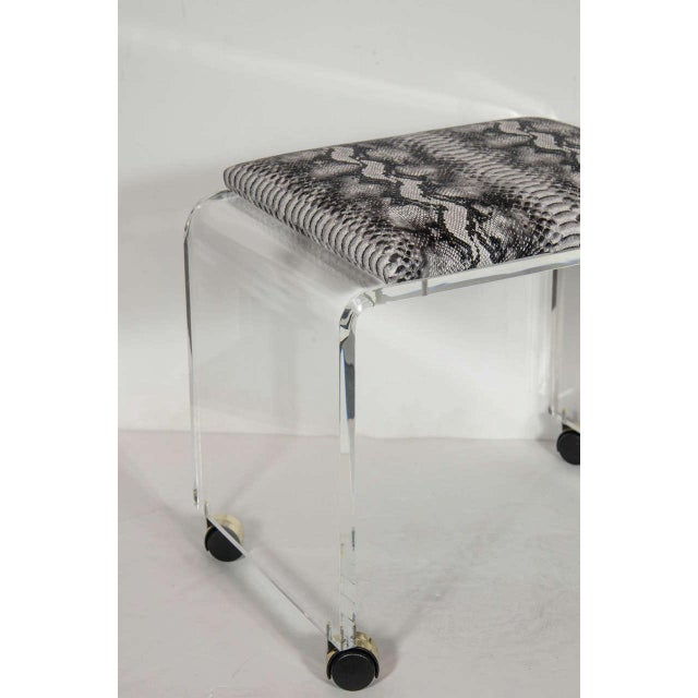 Mid-Century Modern Mid-Century Modernist Waterfall Form Lucite Stool with Faux Python Upholstery For Sale - Image 3 of 6