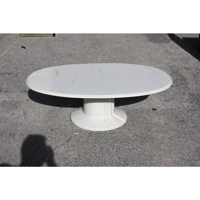 Long French Mid-Century Modern White ''Resin'' Oval Coffee Or Cocktail table Circa 1960s, Very nice resin colour detail...