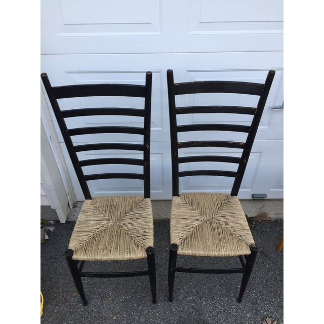 Country Vintage Mid Century Italian Ladder Back Chair- A Pair For Sale - Image 3 of 11