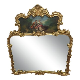 Antique Louis XV French Rococo Giltwood Trumeau Mirror With Oil Painting For Sale