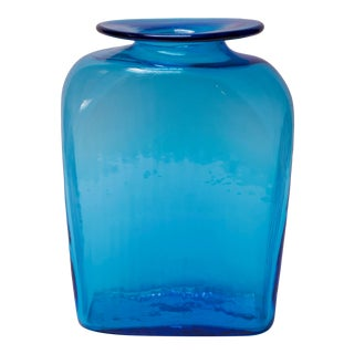 "Large Blenko Blown Glass Turquoise Asymmetrical ""Ribbed"" Vase For Sale"
