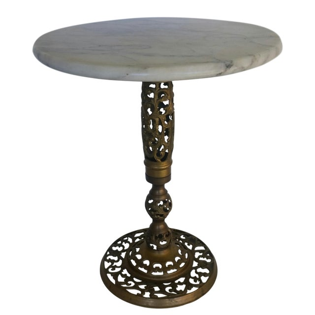 Mid-Century Modern Marble & Pierced Brass Table For Sale