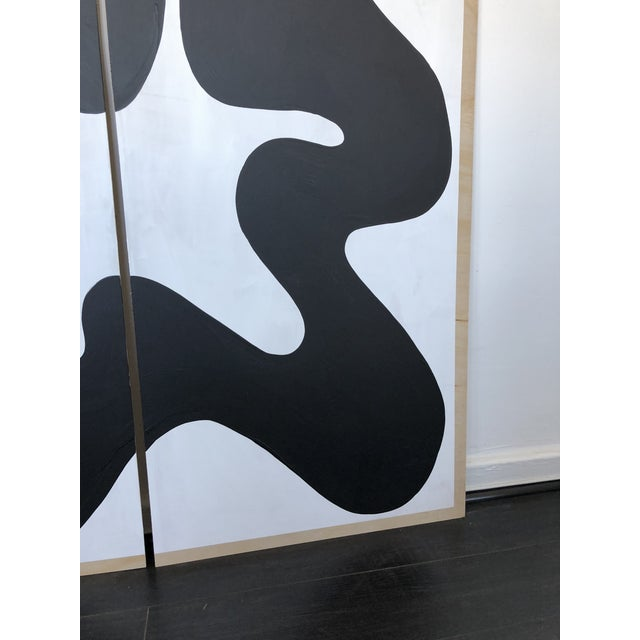 The Big Swim X Hannah Polskin Black and White Abstract Diptych For Sale - Image 4 of 9