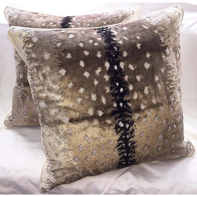 Belgian Antelope Velvet Pillows - A Pair - Image 2 of 4