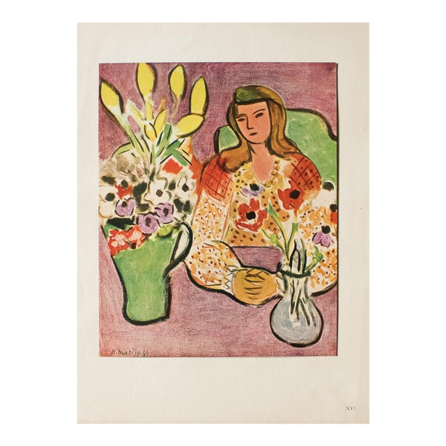 """1946 H. Matisse """"Girl With Anemones on Purple Background"""", Original Parisian Lithograph For Sale"""