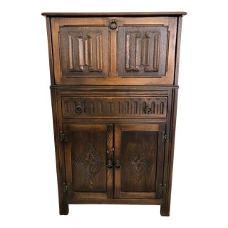 Vintage Jacobean Style Bar Cabinet For Sale
