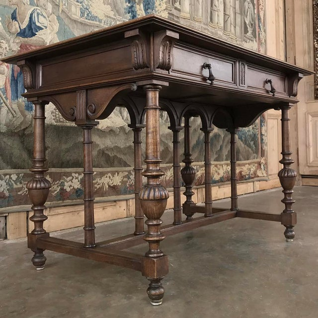 19th Century French Henri II Walnut Writing Table For Sale - Image 4 of 13