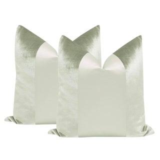 "22"" Sage Velvet & Silk Panel Pillows - a Pair"
