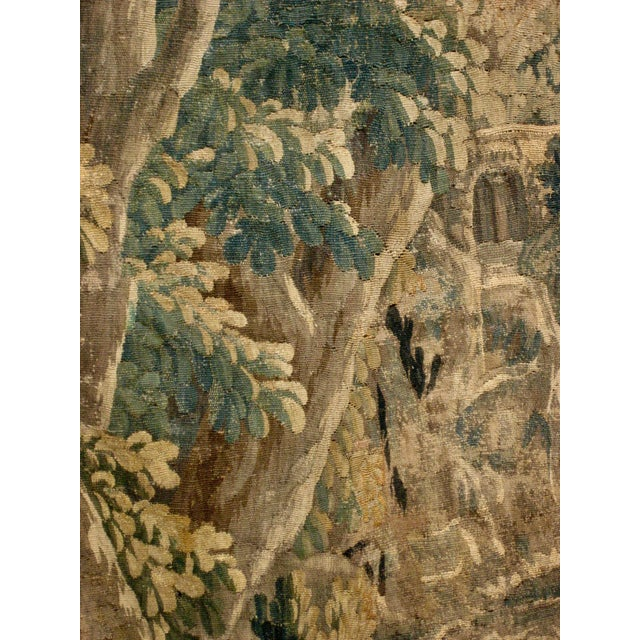 18th Century 1700s French Aubusson Verdure Tapestry Wall Hanging For Sale - Image 5 of 11