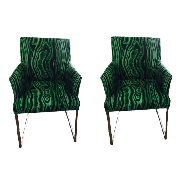 Malachite Upholstered Arm Chairs - A Pair - Image 4 of 5