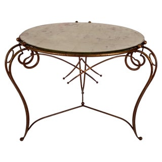 Gilt Metal Table and Gold Leaf Glass Top For Sale