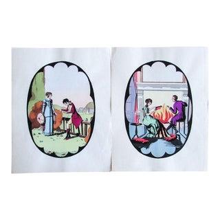 1920s Vintage French Art Deco Porcelain Wares Design Pochoir Prints - A Pair For Sale