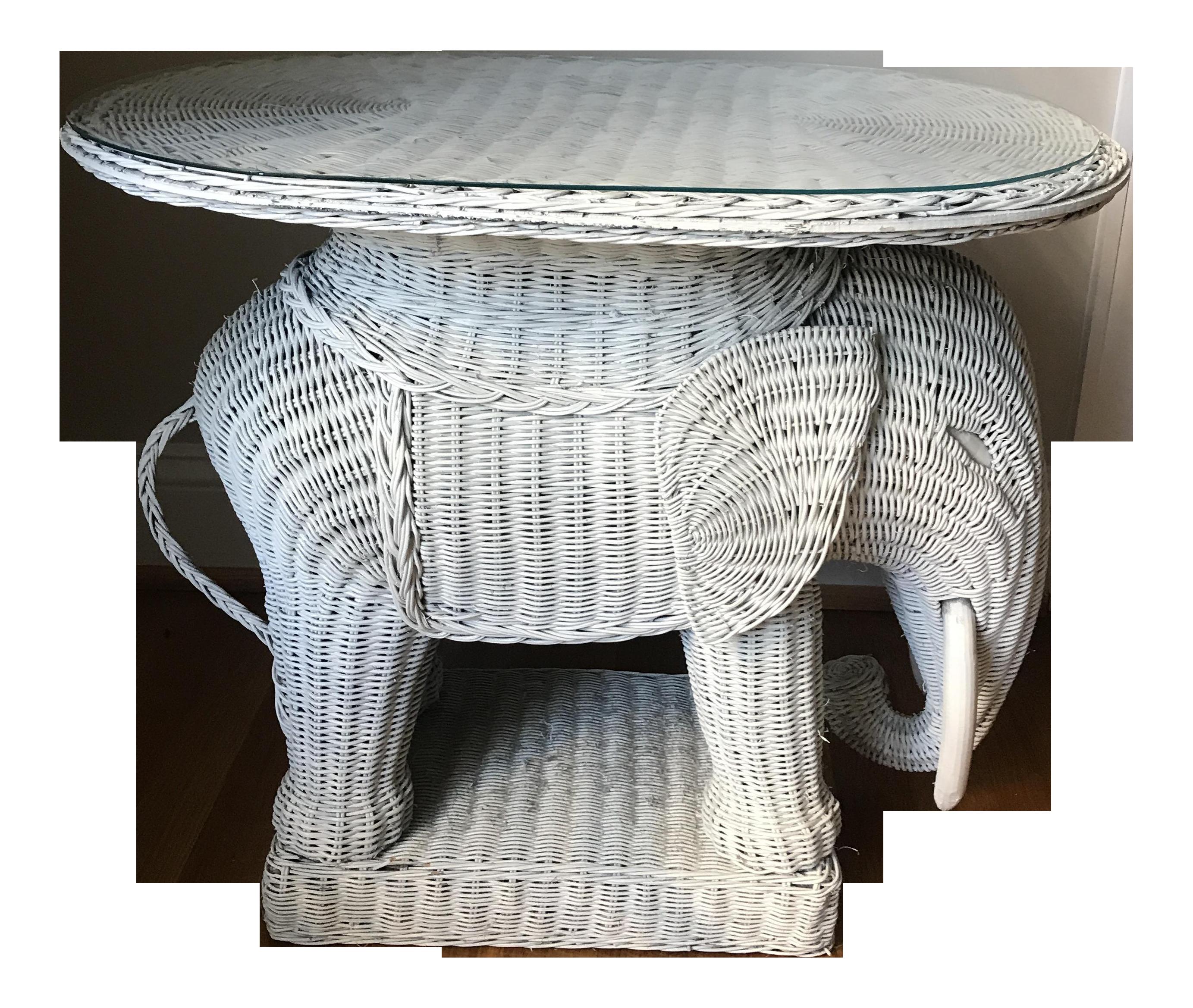 Great Vintage Wicker Elephant Side Table