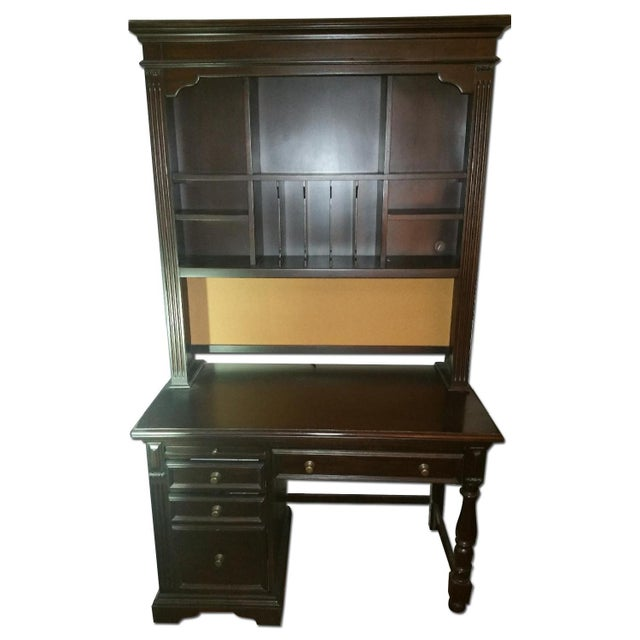 Solid Wood Dark Brown Desk with Hutch by Pulaski - Image 1 of 4