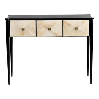 English Bespoke Ebonized Console With Vellum Drawers For Sale