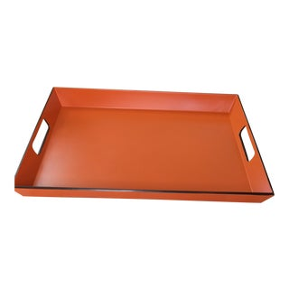 Mid Century Modern Orange and Espresso Bar Tray For Sale