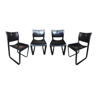 "1970s Black Leather ""Sistina"" Chairs by Tito Agnoli for Matteo Grassi - a Set of 4 For Sale"