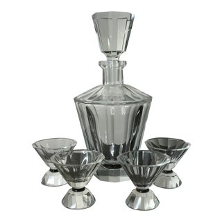 Glass Crystal Decanter and Glasses - 5 Pc. Set For Sale
