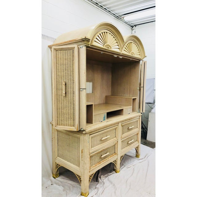 Gold Vintage Faux Bamboo Chippendale Style Hutch For Sale - Image 8 of 13