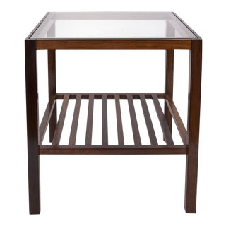 Brazilian Mid-century Modern Side Table in Jacaranda and Glass For Sale