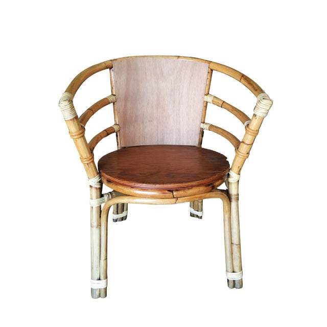 Brown Mid-Century Rattan Barrel Back Armchair W/ Skeleton Arms For Sale - Image 8 of 8
