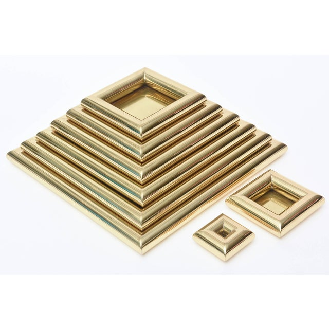 Metal 1970s Vintage Italian Romeo Rega Pyramid Polished Brass Sculpture / Serving Trays - 8 Pieces For Sale - Image 7 of 9