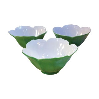 Vintage Green Lotus Glass Bowls - Set of 3